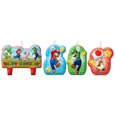 Super Mario Brothers Birthday Candle Set 4PK