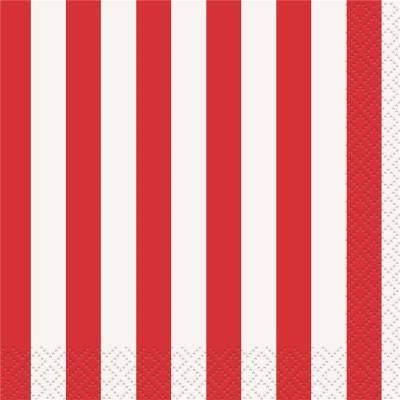 Stripes Red Beverage Napkins 16PK