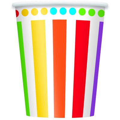 Rainbow Birthday 266ml Paper Cups 8PK