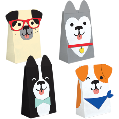 Dog Party Favor Paper Treat Bags 8PK