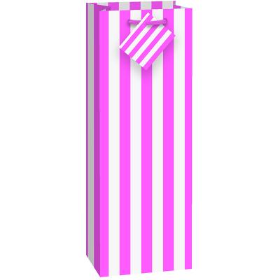 Stripes Hot Pink Wine Bag