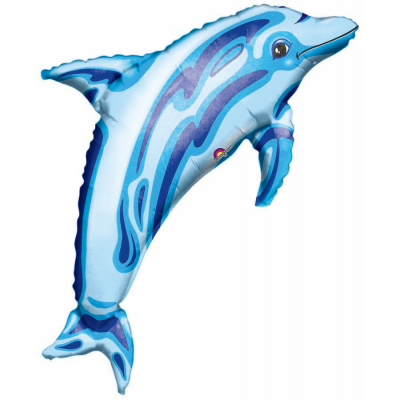 Supershape Ocean Blue Dolphin Foil Balloon Inflated with Helium