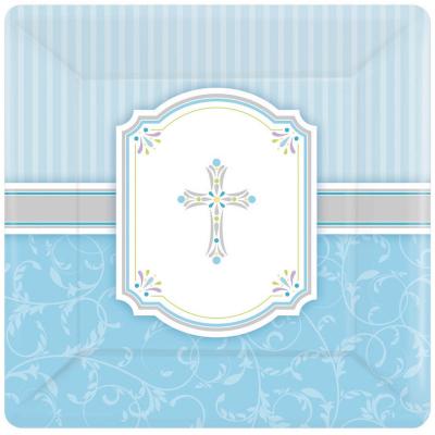 Blessings Blue 17cm Square Plate 8PK