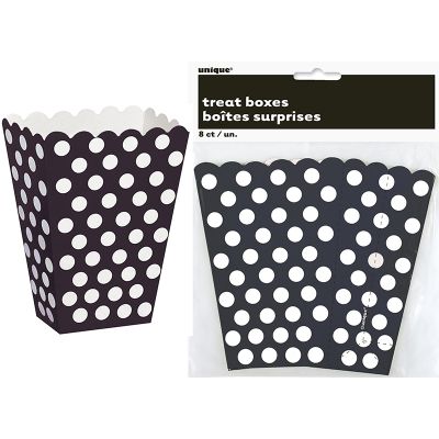 Polka Dots Treat Boxes Midnight Black 8PK