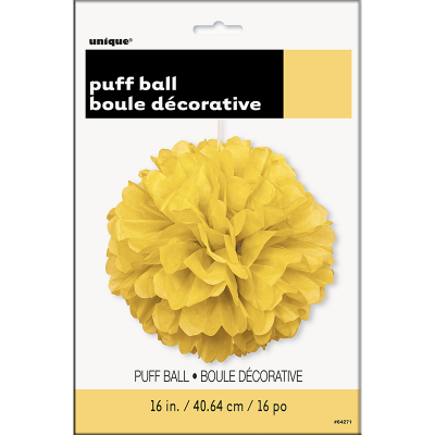 Hanging Puff Ball Decoration 40cm Yellow