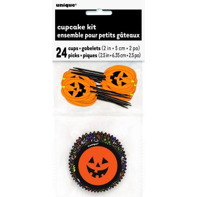 Pumpkin Face Cupcake Case & Pick 24PK