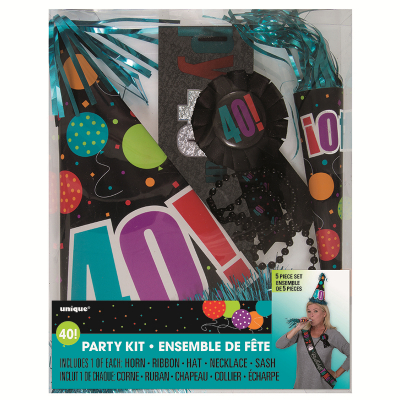 Birthday Day Party Kit 40th Inc Horn Ribbon Hat Necklace Sash 5PK