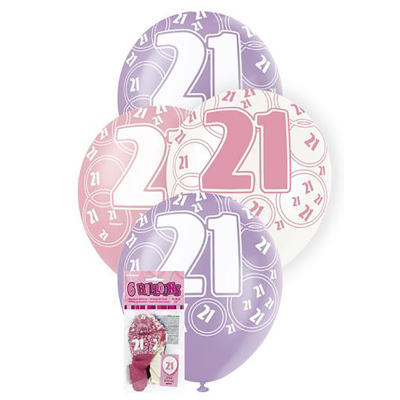 Glitz Birthday Pink Helium Balloons 21st 6PK