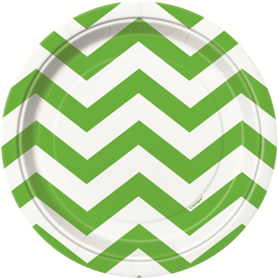 Chevron 17cm Plates Lime Green 8PK