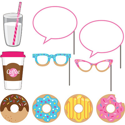 Donut Time Photo Booth Props Assorted Sizes & Designs 10PK