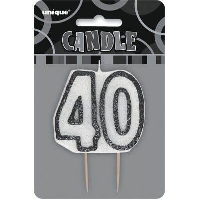 Glitz Birthday Black Numeral Candle 40th