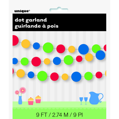 Dots Garland Green Red Yellow Blue