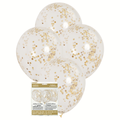 30cm Clear Balloons &Gold Confetti 6PK