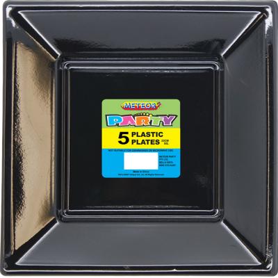 Square Plastic Plates 23cm Black 5PK
