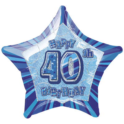 Glitz Birthday Blue Star Foil Balloon 40th