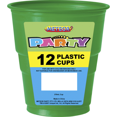 Plastic Cups 270ml Dark Green 12PK