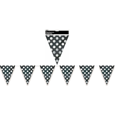 Polka Dots Flag Banner Midnight Black 12PK