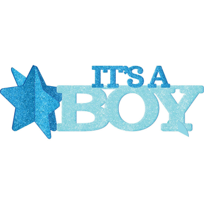 Baby Shower Blue Glittered Centrepiece It's A Boy