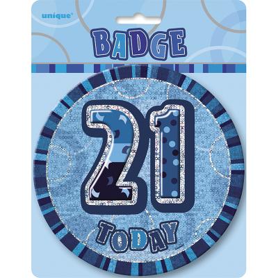 Glitz Birthday Blue Badge 21st