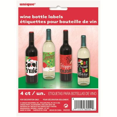 Wine Bottle Label Christmas 4PK