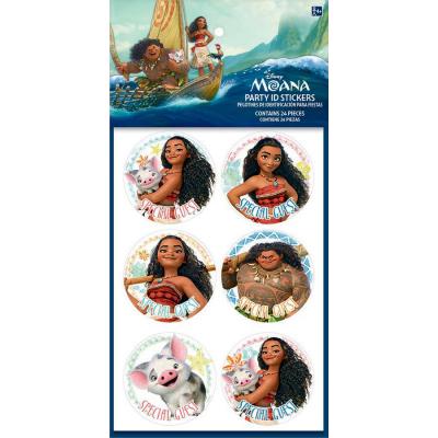 Moana Party ID Stickers 24PK