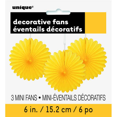 Hanging Decorative Fan 15cm Yellow 3PK