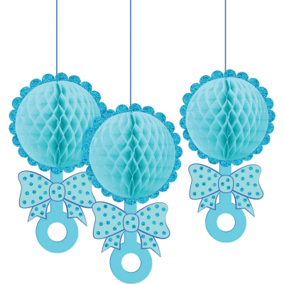 Baby Shower Blue Honeycomb Glittered Rattles Hanging Decorations 3PK