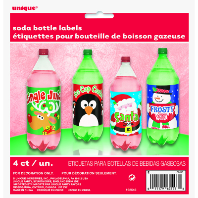 Soda Bottle Label Christmas 4PK