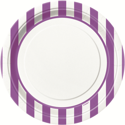 Stripes Purple 23cm Plates 8PK