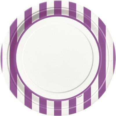 Stripes Purple 23cm Plates 8PK