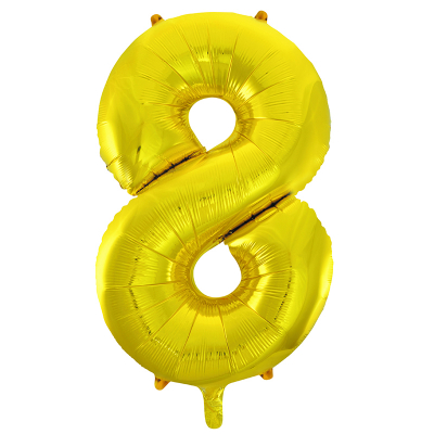 86cm 34 Inch Gaint Number Foil Balloon Gold 8 Inflated with Helium