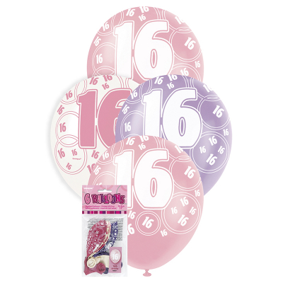 Glitz Birthday Pink Helium Balloons 16th 6PK