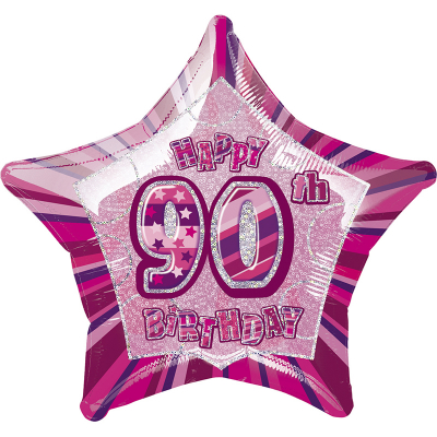 Glitz Birthday Pink Star Foil Balloon 90th
