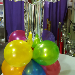 Table Posie Air Filled Plain Colour Balloon with Small Letter Foil Balloon