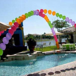 Large String of Pearls Helium Balloon Arch