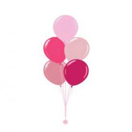 Plain Colour Helium Balloon Bouquests 5 Balloons